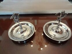 2---vintage Sterling Silver Ring Holders--very Old And Very Nice-