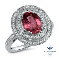 Certified 2.90ct Oval Natural Pink Sapphire Ring W/ Diamonds In 14k White Gold