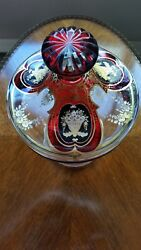 Moser Bohemian Cranberry Cut To Clear And Gold Etched Crystal Covered Dish 1900's