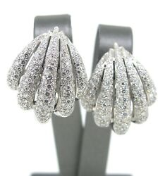6.89 ct tw Diamond Pave Wave Large Women's Earrings 18k White Gold Evening Dress