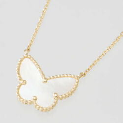 Van Cleef&Arpels Lucky Alhambra Yellow Gold  Mother-of-pearl Butterfly Pendant