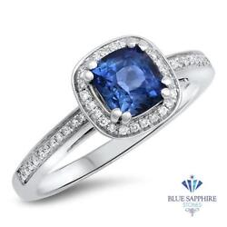 Certified 1.36ct Natural Blue Sapphire Ring With Diamond Halo In 14k White Gold