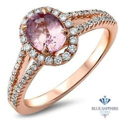 Certified 1.27ct Oval Natural Pink Sapphire Ring W/ Diamonds In 18k Rose Gold