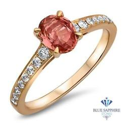 Certified Gia 0.80ct Oval Natural Padparadscha Ring W/ Diamonds In 18k Rose Gold