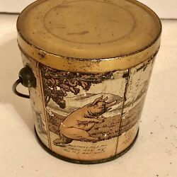 Antique Little Piggies Pigs Tin Litho Candy Pail Canco Can Vintage Country Store