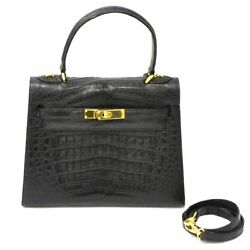 Authentic Alize Genuine Crocodile Leather Hand Bag Satchel Kelly Design Black