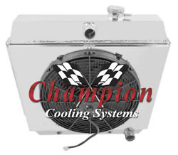 4 Row Bc Champion Radiator W/ 16 Fan And Shroud For 1949 - 1954 Chevrolet Cars
