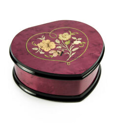 Elegant Cherry Red Heart Shaped Music Jewelry Box With Floral In Heart Frame