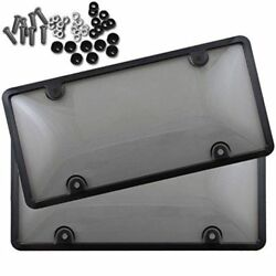 2x UNBREAKABLE Tinted Smoked License Plate Tag Shield Cover and Frame