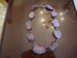 Large Barse Sterling Silver Necklace With Large Stones-925--very Nice And Beauti