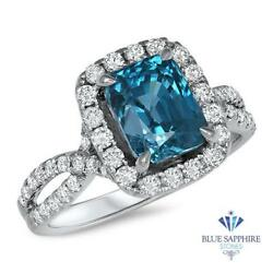 4.88ct Cushion Natural Blue Zircon Ring With Diamond Halo In 18k White Gold