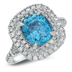 Certified 5.07ct Natural Cushion Blue Zircon Ring W/ Diamonds In 18k White Gold