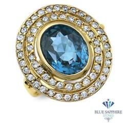 Certified 4.23ct Oval Natural Blue Spinel Ring With Diamonds In 14k Yellow Gold