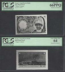 Nepal Face And Back One Rupee Unissued Pick Unlisted Photograph Proof Unc