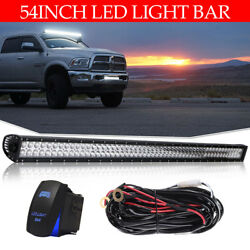 54Inch Straight LED Light Bar Spot Flood Offroad Truck SUV Dual-Row Driving