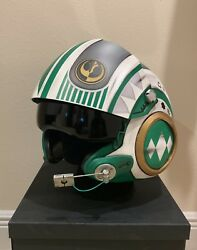 Star Wars Custom Green Power Ranger MMPR X-wing pilot Costume helmet Movie Prop