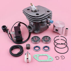 47mm Cylinder Piston Kit For Husqvarna 357 359 W Ignition Coil Bearing Oil Seal