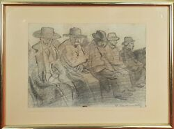 ELDERLY SUN. DRAWING TO GRAPHITE ON PAPER. JOSE BENLLIURE ORTIZ. XXTH CENTURY.
