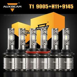 AUXBEAM 9005+H11 LED Headlight + 9145 H10 Fog Bulbs for 11-18 Ram 1500 2500 3500