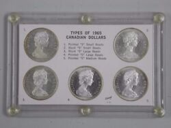 5x 1965 Canada 1 Dollar Yes 1 Of Each Variety For 1965 Including Medium Beads