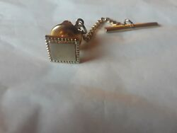 Gold Wash Square Tie Tack Could Be Personalized Monogrammed