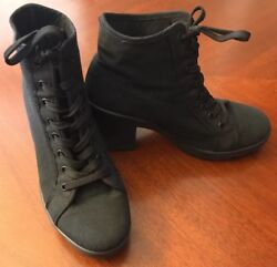 Topshop Black Cotton Lace Up Boots Womenand039s Size 6.5 Made In Italy