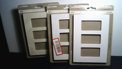 LOT OF 3 PC Lutron White Ivory 3 Gang Wall Plate Rocker Light Switch Cover