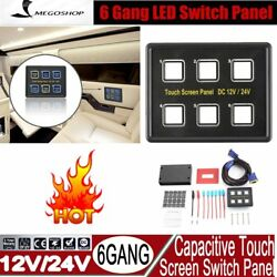 6 Gang LED Back Capacitive Touch Screen Marine Boat Caravan Switch Panel 12V RE