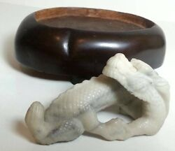 Vintage Chinese Hand Carved Jade Dragon Statue Asian Redwood Base Display 3 Legs
