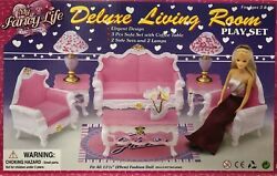 My Fancy Life Barbie Size Dollhouse Furniture Deluxe Living Room Play Set