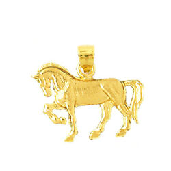 New Real Solid 14k Gold 20mm Horse Mini Charm