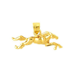 New Real Solid 14k Gold Wild Horse Charm