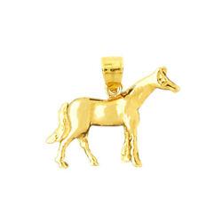 New Real Solid 14k Gold 20mm Horse Charm