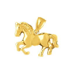 New Real Solid 14k Gold Pony Horse Charm