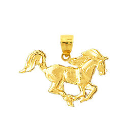 New Real Solid 14k Gold Galloping Horse Charm