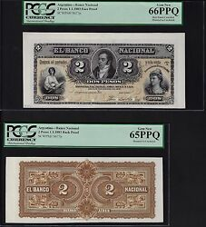Argentina Face And Back 2 Pesos 1-1-1883 Ps677p Essay Proof Uncirculated