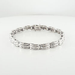 Modern 14 Karat White Gold Baguette Diamonds Totaling 4.78 Carats 7 Inches Size