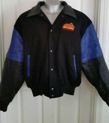 Vintage Cooper Leather Wool Jacket Usa Embroidered Chips Casino Xl