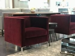 Luxurious Small Giglio Armchair In Red Velvet From Arketipo Firenze