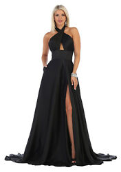 FORMAL RED CARPET HALTER PROM EVENING GOWN SPECIAL OCCASION A-LINE PAGEANT DRESS $124.99