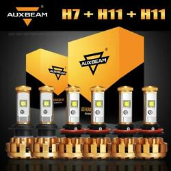 Auxbeam F-16 H7+H11 CREE LED Headlight Bulbs Hi&Lo + H11 H8 Fog Lamps Combo Kit