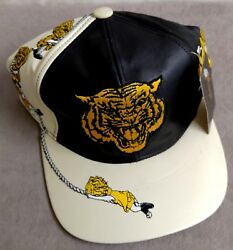 Vintage Morehouse Tigers Genuine Leather Baseball Cap Hat Rich Embroidery