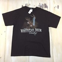 WHITETAIL DEER COUNTRY - NWT Dark Green Outdoors Hunting T-shirt Mens LARGE