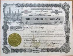 Denver Co 1917 Stock Certificate Diamond Oil Company - Colorado Colo