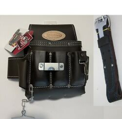 8 Pkt Electrician Tool Bag Pouch + Waist Tool Belt - Both Oil Tanned Leather