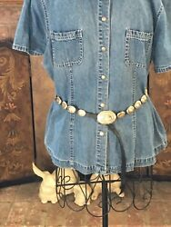 Vintage Sterling Silver And Leather Concho Style Rodeo Western Adjustable Belt