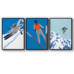 Set of 3 Retro Skiing Winter Ski Chalet Art Poster Print - A3 A2 A1 A0 Framed