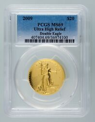 2009 20$ Ultra High Relief Double Eagle Gold PCGS Graded MS69 w/ Box and CoA
