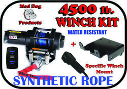 4500lb Mad Dog Synthetic Winch/mount Kit For 2008-2014 Polaris Rzr 800 / 800 4