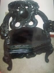 Pair of Tomekichi Suzuki Hand Carved Antique Dragon Armchairs w Dragon Handles